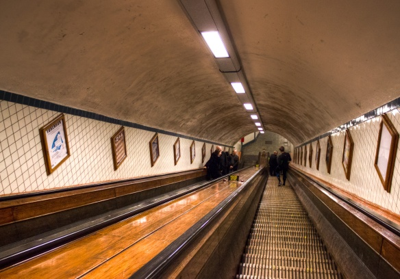 The escalators in Sint-Annatunnel